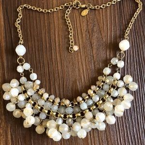 Pale Pink Beaded Gold Necklace